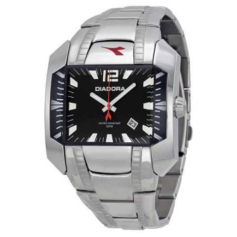 Daiktas Diadora black dial stainless steel Quartz sports watch